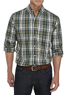 Big & Tall Long Sleeve Saturated Big Plaid Stretch