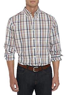 Big & Tall Long Sleeve Big Plaid Stretch Shirt
