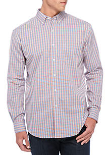 Long Sleeve Stretch Mini Multi Gingham Button Down Shirt