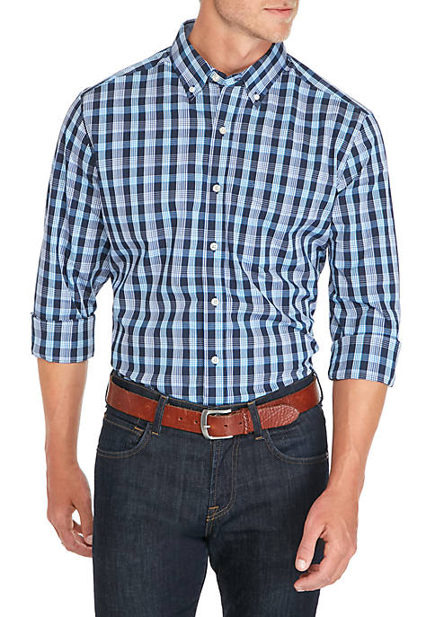 Saddlebred® Long Sleeve Small Plaid Shirt