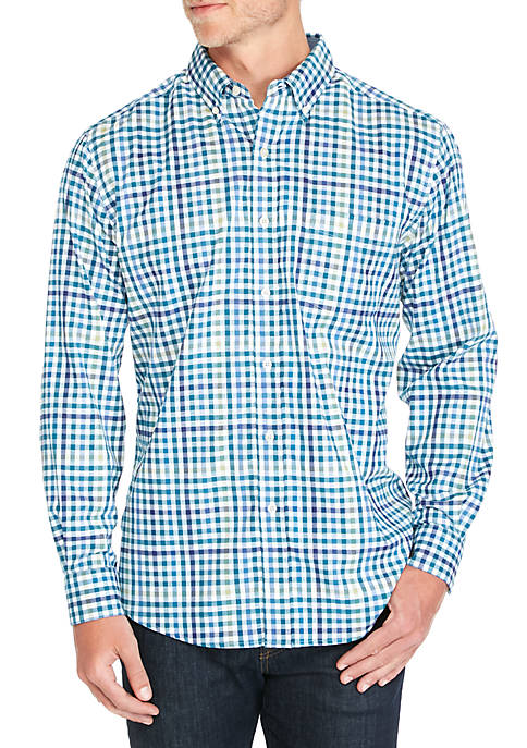 Saddlebred® Long Sleeve Multi-Gingham Print Shirt