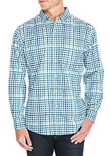 Long Sleeve Stretch Multi Color Gingham Button Down Shirt