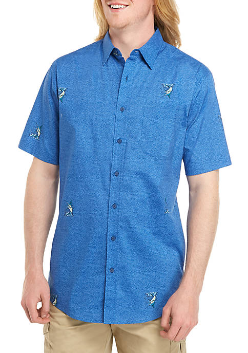 Big & Tall Short Sleeve Stretch Poplin Classic Fit Shirt