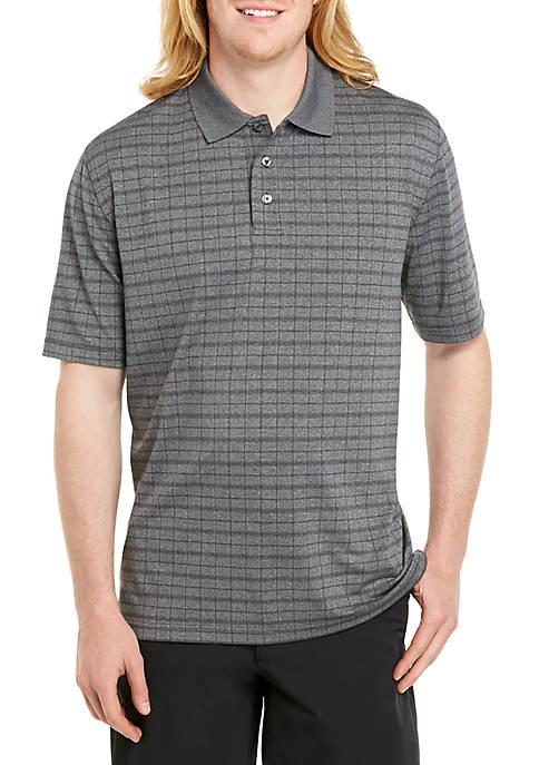 Big & Tall Short Sleeve Windowpane Poly Polo Shirt