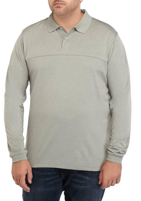 Big & Tall Long Sleeve Stripe Polyester Polo Shirt