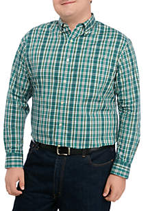 Saddlebred® Big & Tall Comfort Flex Poplin Plaid Woven Shirt