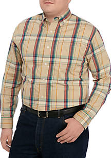 Saddlebred® Big & Tall Comfort Flex Long Sleeve Poplin Plaid Woven Shirt