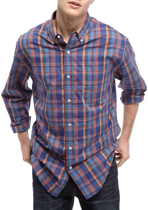 Saddlebred® Mens Comfort Flex Long Sleeve Plaid Woven
