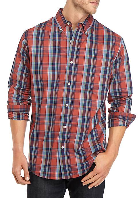 Comfort Flex Long Sleeve Poplin Plaid Woven Shirt