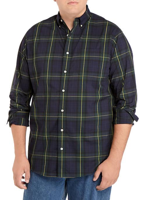 Big & Tall Long Sleeve Plaid Poplin Dress Shirt
