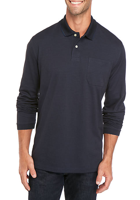 Long Sleeve Box Check Polo Shirt