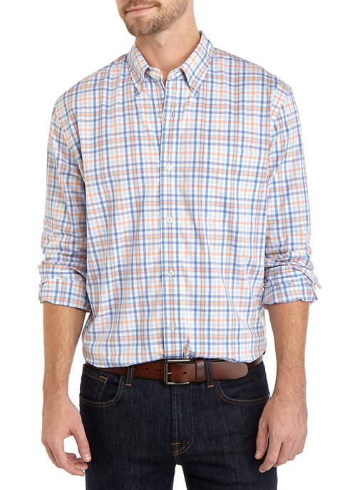 Mens Long Sleeve Poplin Plaid Shirt