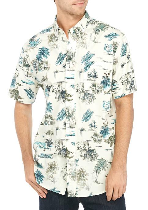 Mens Short Sleeve Stretch Poplin Shirt