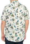 Big & Tall Scenic Boat Printed Poplin Shirt