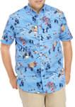 Big & Tall Short Sleeve Beach Printed Poplin Shirt
