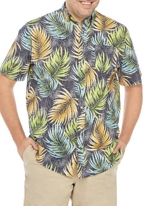 Big & Tall Short Sleeve Palm Print Printed Poplin Shirt