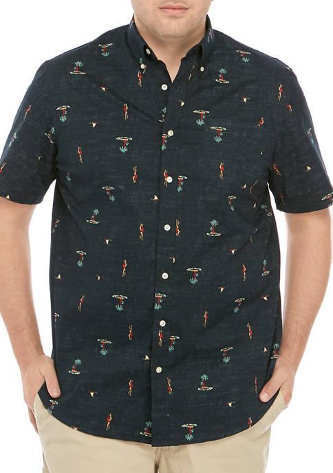 Big & Tall Short Sleeve Hula Printed Poplin Shirt