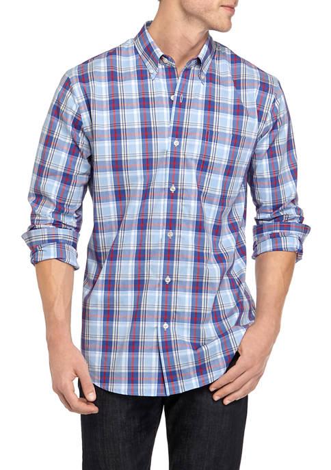 Mens Comfort Flex Long Sleeve Poplin Plaid Woven Shirt