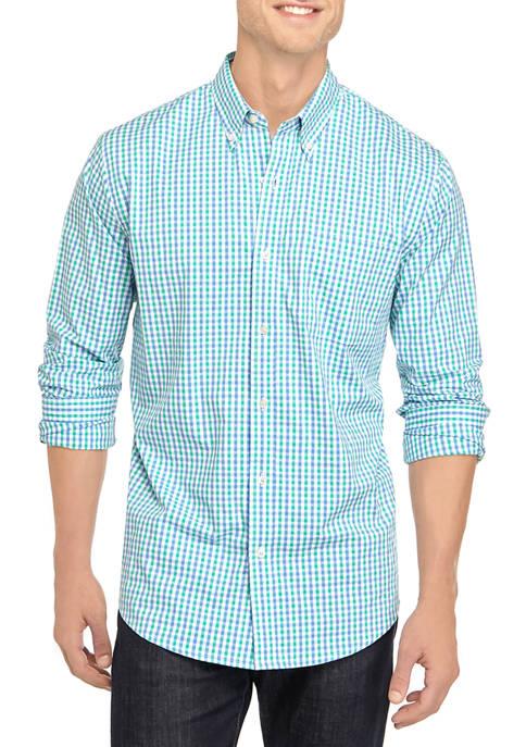 Mens Comfort Flex Long Sleeve Poplin Check Woven Shirt