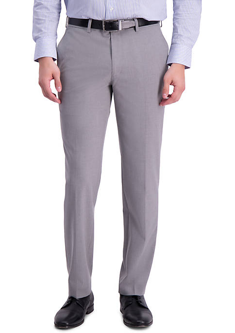 Mens Solid 4 Way Stretch Skinny Fit Flat Front Dress Pants