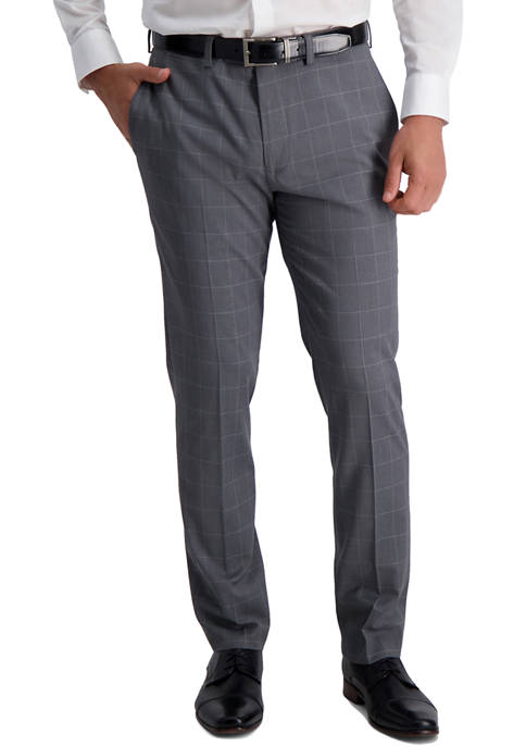 Mens Heather Windowpane Slim Fit Suit Separate Pants