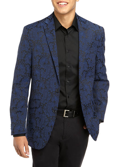Kenneth Cole Mens Blue Slim Fit Stretch Paisley