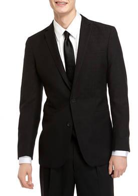 Mens Slim Fit Black Stretch Jacquard Dinner Jacket