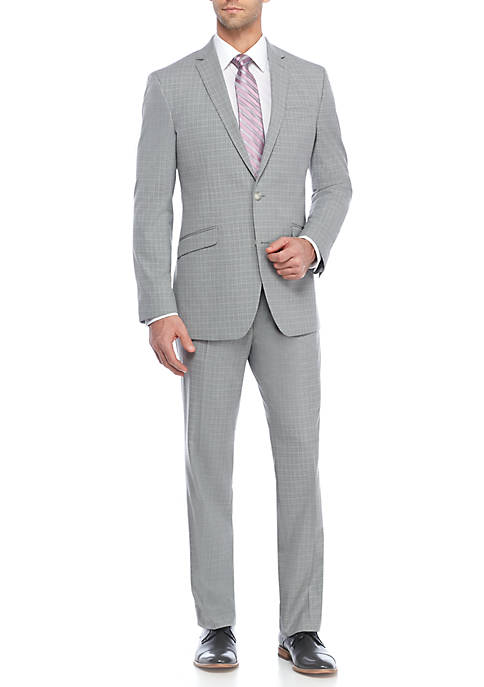Kenneth Cole Light Gray Check Suit