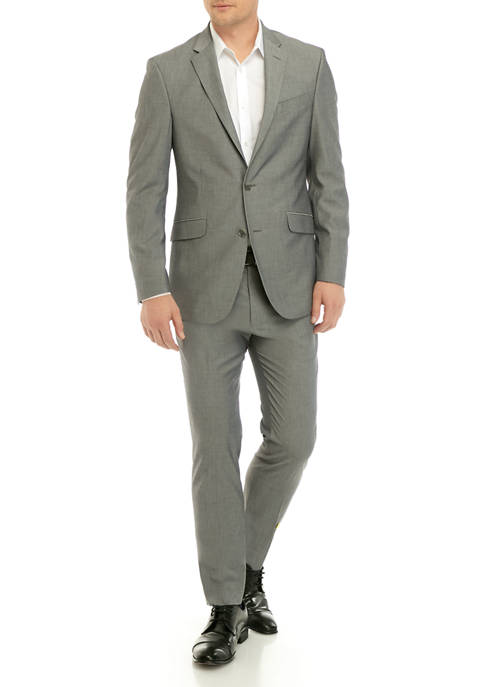 Kenneth Cole Mens Mid Gray Tic Suit