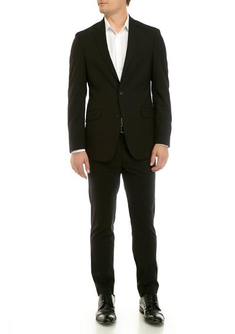 Kenneth Cole Reaction Mens Black Shadow Plaid Suit