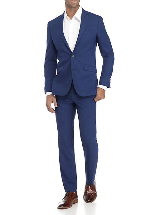 Kenneth Cole Bright Blue Sharkskin Slim Fit Suit