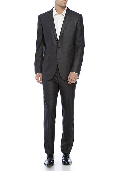 Kenneth Cole Reaction Gunmetal Basket Stretch Suit