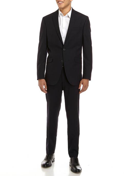 Kenneth Cole Mens Navy Plaid Suit