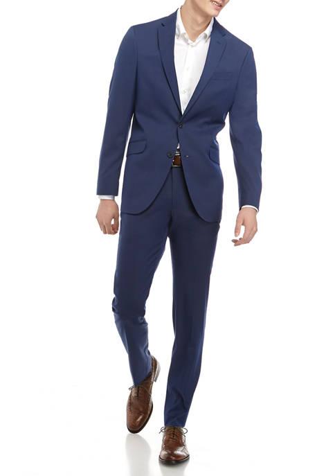 Kenneth Cole Mens Bright Blue Slim Strip Suit
