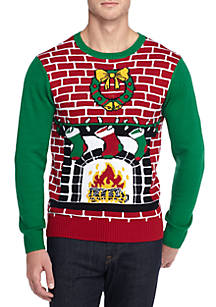 ugly christmas sweater light up led fireplace sweater