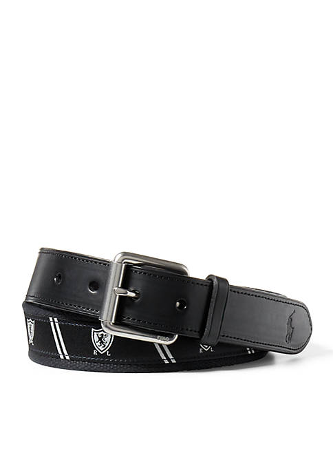 Lauren Ralph Lauren 1.25-in. Shield-Overlay Webbed Belt