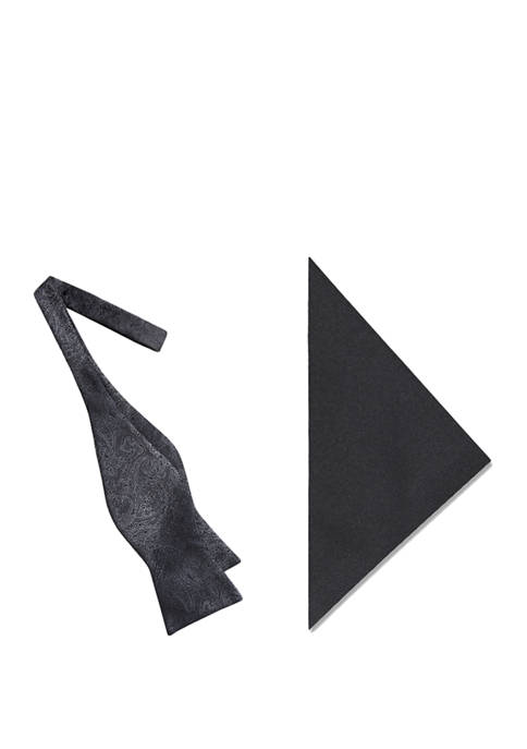 Madison Mens Paisley Bow Tie and Pocket Square