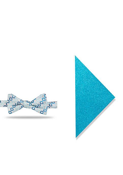Madison Irwin Geometric Pocket Square and Bow Tie