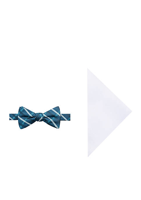 Lyle Grid Bow Tie and Pocket Square Set
