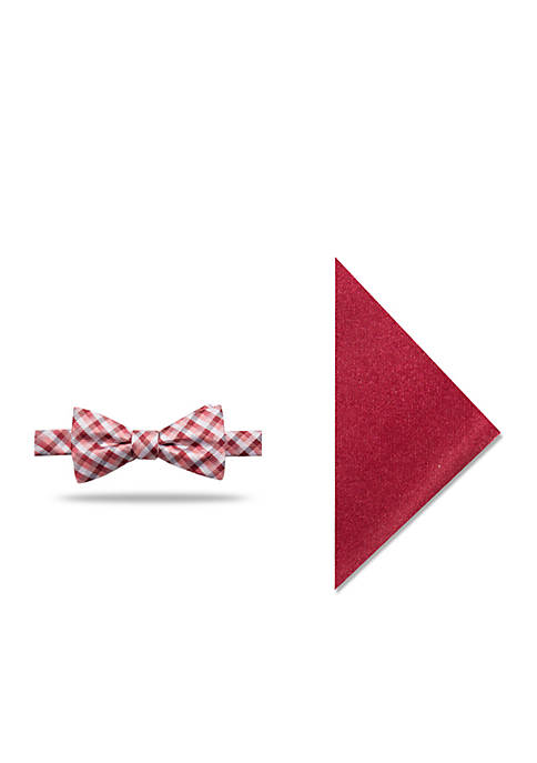 Madison Benton Plaid Bow Tie Pocket Square Set
