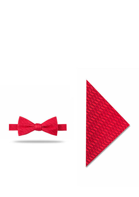 Madison Mens Jackson Solid Bow Tie and Pocket
