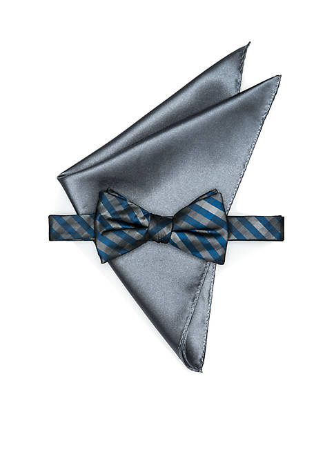 Madison Tristan Gingham Pre-Tied Bow Tie Set