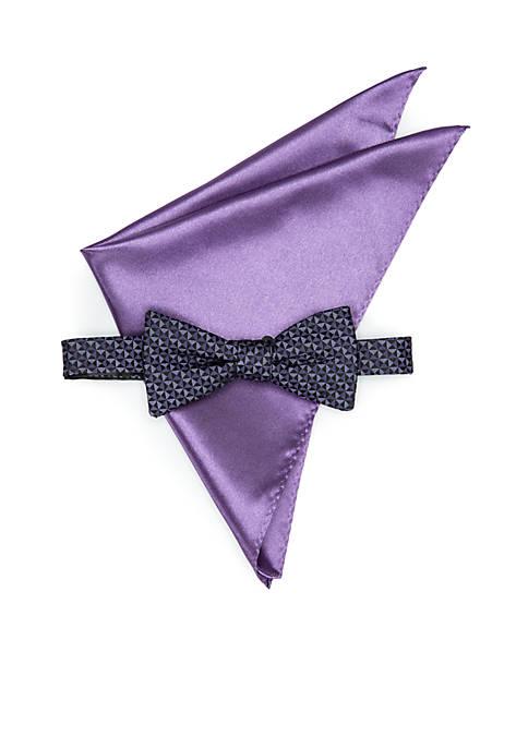 Troy Geometric Pre-Tied Bow Tie Set