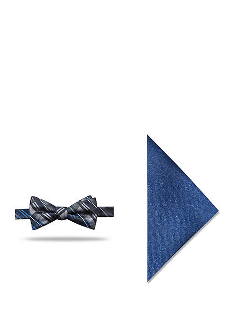 Madison Joshua Plaid Pocket Square and Bow Tie
