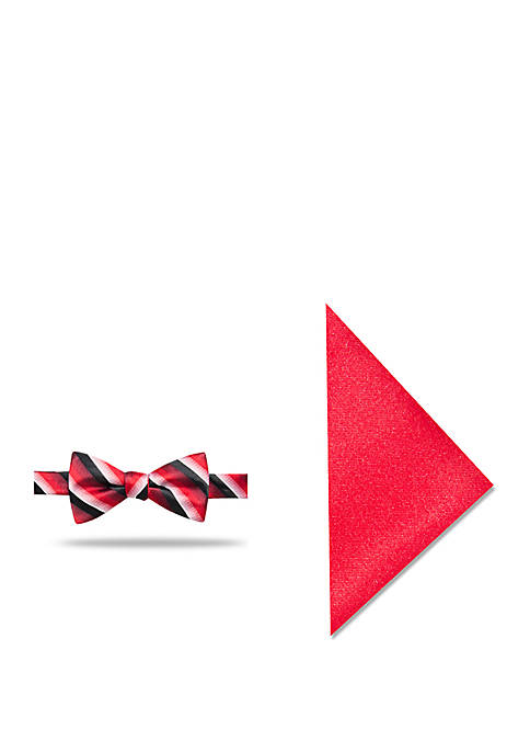 Madison Leroux Stripe Bow Tie and Pocket Square