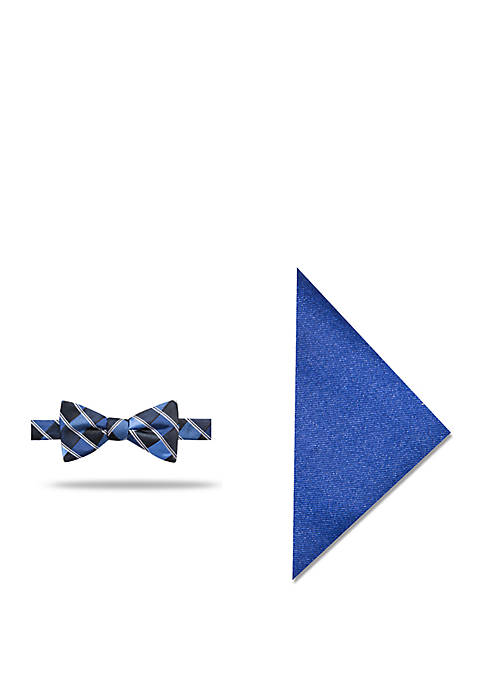 Lorant Check Bow Tie and Pocket Square Set