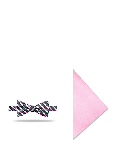 Madison 2-Piece Laszlo Stripe Bow Tie and Pocket