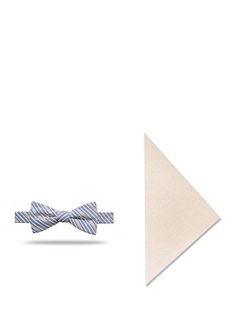 Madison Mani Thin Stripe Bow Tie and Pocket