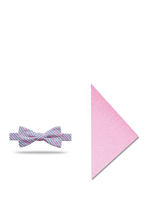 Madison Mani Thin Stripe Bow Tie and Pocket
