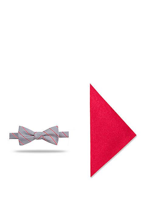 Greyson Stripe Bow Tie and Pocket Square Set